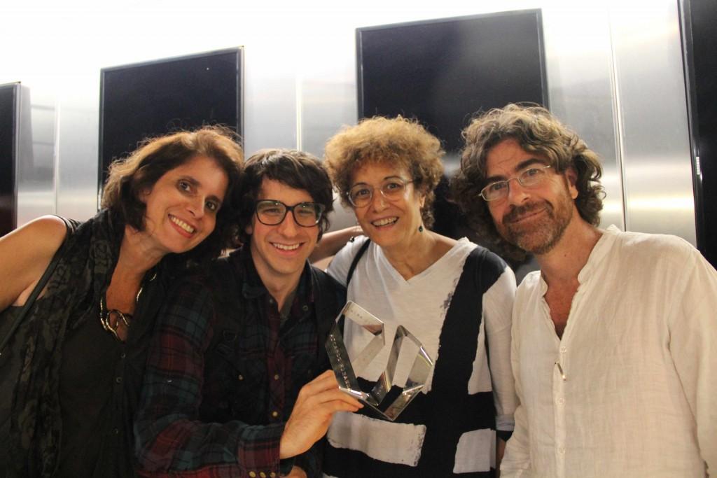 Célia Freitas, Guilherme Peters e jurados Cezar Migliorin e Marta Luz
